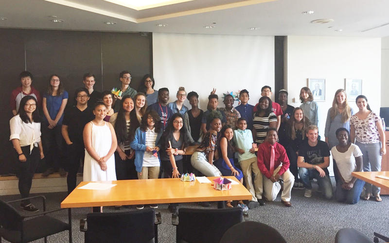 One of our outreach events for 7th and graders, where REU students worked together with IGPPEB graduate students.
